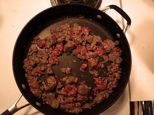 6.  When your sausage is browned you can add it to the stew pot.