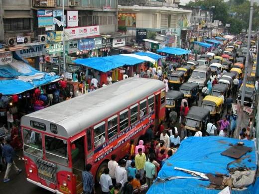 Traffic in a suburban area