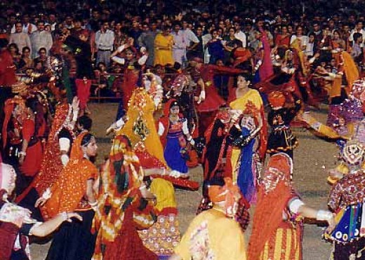 Dandiya Raas -  Colorful dancing by teen agers for nav ratri  (nine nights ) devoted to Radha and Krishna and their love