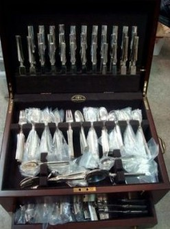 This Antique Elsinore George Jensen Art Deco Sterling Silver Flatware Set sold on eBay for $22,000.