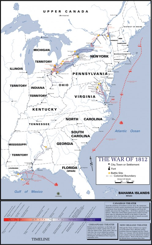 Click to enlarge. The War included battles in the North Atlantic and the Caribbean.