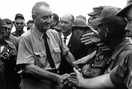 President Johnson with U.S. Troops in Vietnam