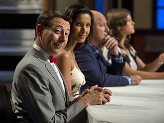 The judges Pee Wee, Padma, Tom and Gail