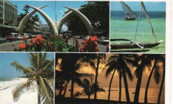 Mombasa city: from beaches to rich African culture. The tusks of Mombasa are visible on one of the pictures.