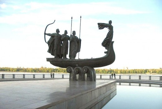 """Monument to the Founders of Kiev -  According to legend, Kiev was founded by three brothers - Kyi, Schek, Khoryv and their sister Lybid in 5th century A.D. and the city of """"Kyiv"""" was named after the eldest brother"""