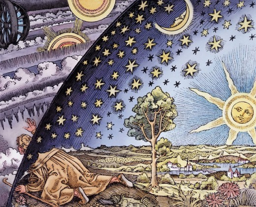 16th century style woodcut believed to have been commissioned for a book by French astronomer Camille Flammarion in 1888.