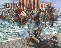 Duke William comes ashore and trips. Seems most of our kings have stumbled somehow, one onto the chopping block