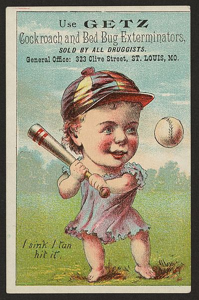 Early Baseball advertisement for a bug spray Advert says: Use Getz cockroach and bed bug exterminators, sold by all druggists