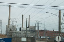 The St. Clair Power Plant, a large coal fired generating station in Michigan.