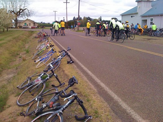 Bikes lined up along the road at the first stop on the 62 mile Monster Cookie Ride in Oregon.