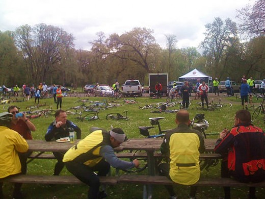 At Champoeg State Park in Oregon, cyclists take a lunch break at the halfway mark of the 62 mile ride.