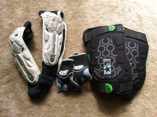 Arm pads, gloves, knee pads.