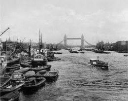Port of London.Ships had to queue up, the docks were so busy