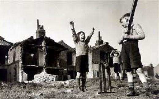 Anyone for Cricket. Kids can ignore anything. Even the cComplete desolation around them didn't interfere with a good game of cricket