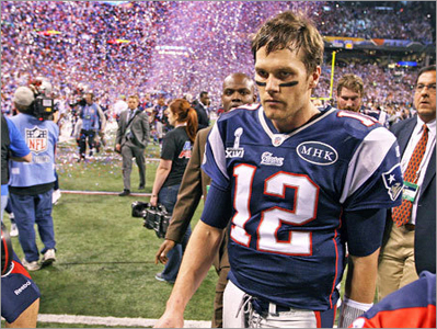 Brady falls to the Giants for the second time in four years in the Super Bowl.
