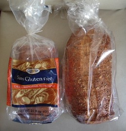 The bread on the right is 'normal' bread.  The loaf on the left is gluten-free and frozen with it.