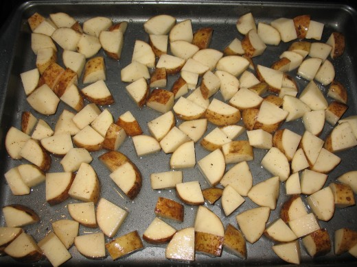 Diced Russet potato tossed in olive oil, salt, and pepper.