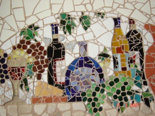 stained glass, stone and ceramic