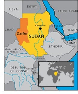 Map showing the geographical position of Darfur