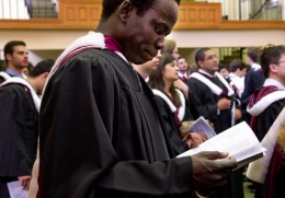 Simon Kuany graduates with a bachelors in mineral engineering from the University of Toronto, June 2011