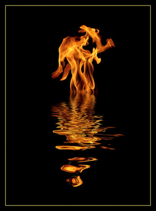 Fire on water poster Do not own copyright to picture.