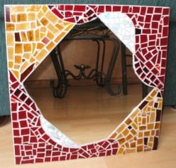 stained glass mirror, stained glass cut and tumbled