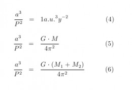 Figure 7. Three forms of the third Kepler's law: for the Sun system (4), general form of one body problem (5), general form of two body problem (6).