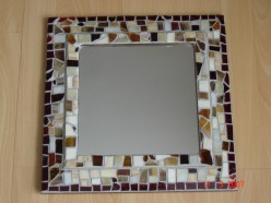 stained glass glued onto mirror purcashed at store