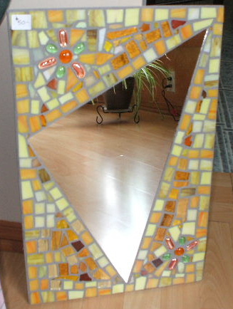 stained glass mirror with glass bead inserts
