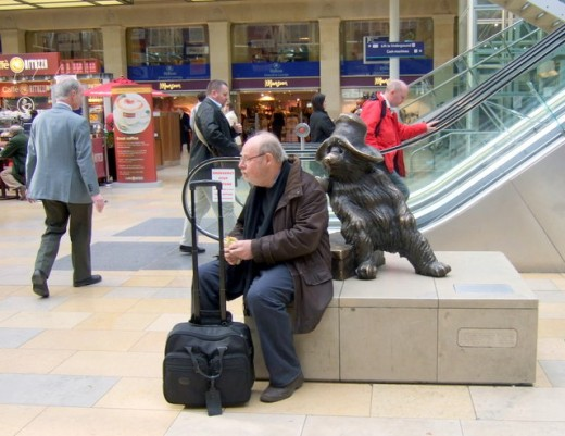 A Statue of Paddington Bear at Paddington Train Station