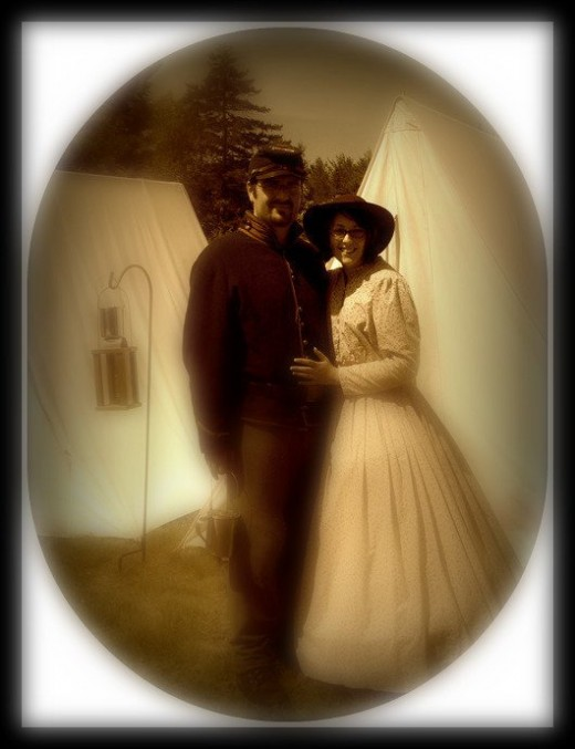 My boyfriend and I in Civil War period dress My dress was handmade by myself.