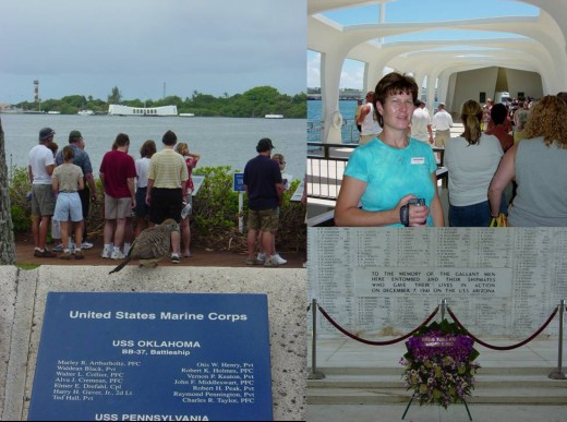 The USS Arizona Memorial including the Shrine Room (bottom right)