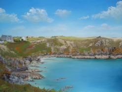 Househole Cove, Cornwall, Unison pastels on Colourfix paper