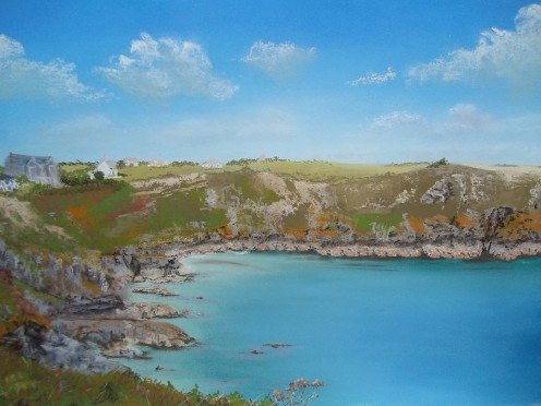 Househole Cove, Cornwall, Unison pastels on Colourfix paper