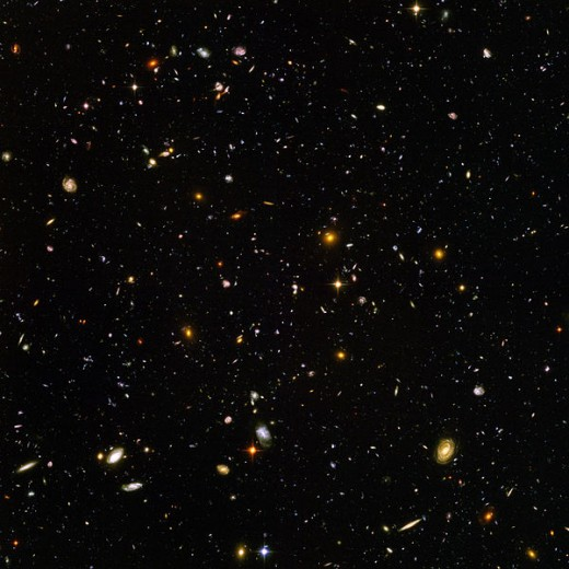 Almost every speck of light in this image is an entire galaxy. This is just a small region of a Universe which could contain as many as 200 billion galaxies.