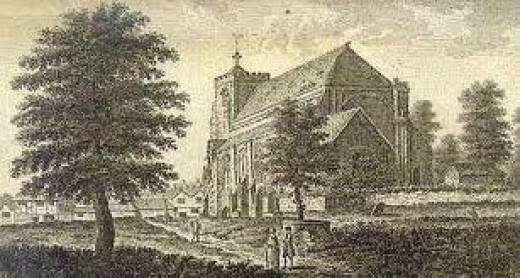 Copperplate print of Waltham Church from near The Welsh Harp PH on the Market Place shows some of the original fabric