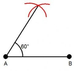 How to draw a 30 degree angle from a 60 degree angle with a compass and ruler only.