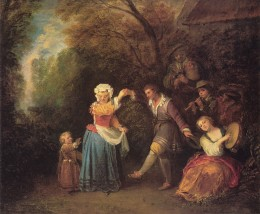 Pastoral scene by Watteau