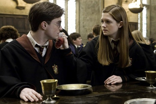 Harry Potter ( Daniel Radcliffe) seen with Ginny Weasley ( Bonnie Wright) from the Harry Potter film.