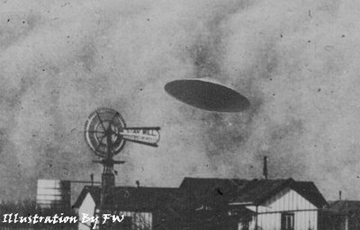 The Aurora UFO case of 1897. A UFO hit a Judges windmill crashing and killing the UFO's occupants.
