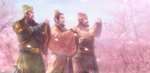 The pledge of allegiance of the fellowship has a stark contrast with the oath of brotherhood in the peach garden between Generals Liu Bei (Centre), Guan Yu (Left) and Zhang Fei (Right)