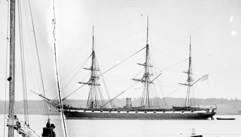 Steam corvette (sloop) USS Pensacola in Alexandria, VA, 1861 (sometimes called frigate)