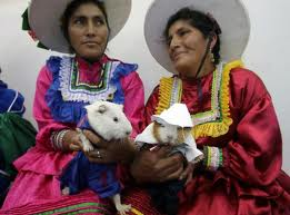 Two elegantly dressed Andean women proudly hold their Guinea pigs!