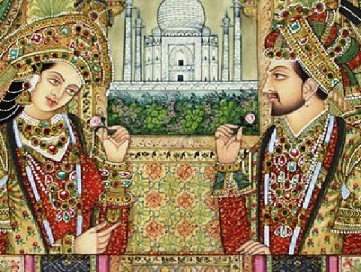 Mumtaz Mahal and Shah Jahan with Taj Mahal in the background.