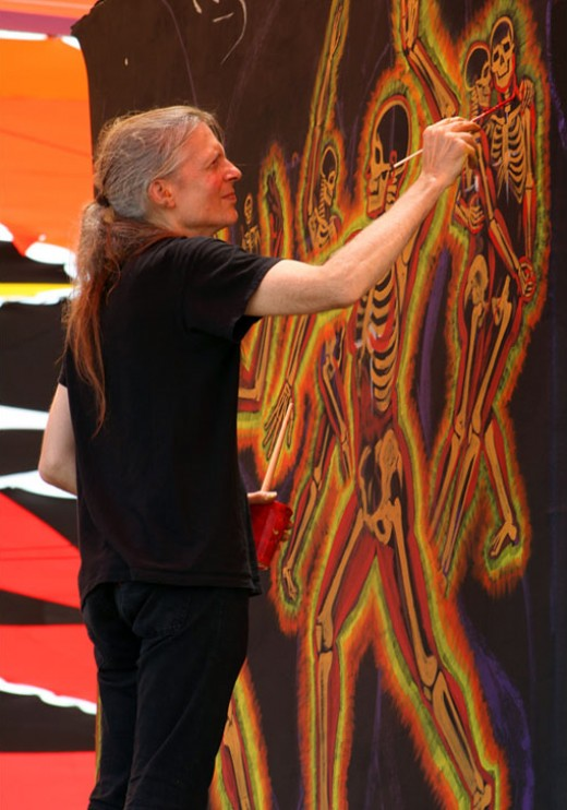 Artist Alex Gray attributes his spiritual art in part to the use of hallucinogenics. His portraits of the inside of the human body are not only beautiful but close to perfection. The colors are one of the expressions associated with hallucinogenics.