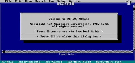 The starting screen of QBASIC