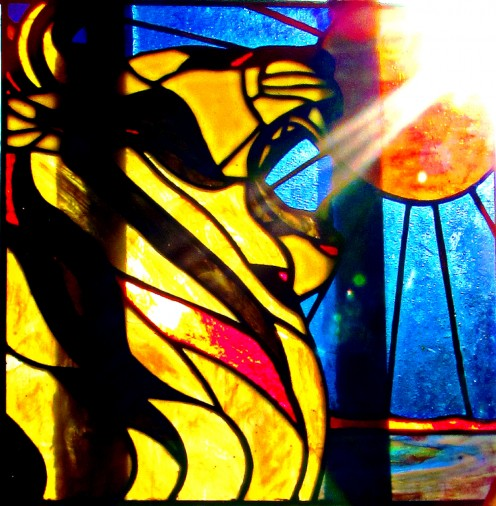 """Michele's Stained Glass Works"" Michele is a fantastic artist. Her main medium is glass. Her work and copies of this piece are available on E-bay or through me.  Copyright 2012-by Michele Palmquist"