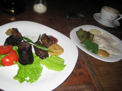 """Although I haven't tried the chocolate-covered type, I did try the traditional """"salo"""", and """"Krovyanka"""", which is Ukrainian blood sausage or """"black pudding"""" as it's called in British English. This was at a restaurant at Andriyivskyy Uzviz. Tasty!"""