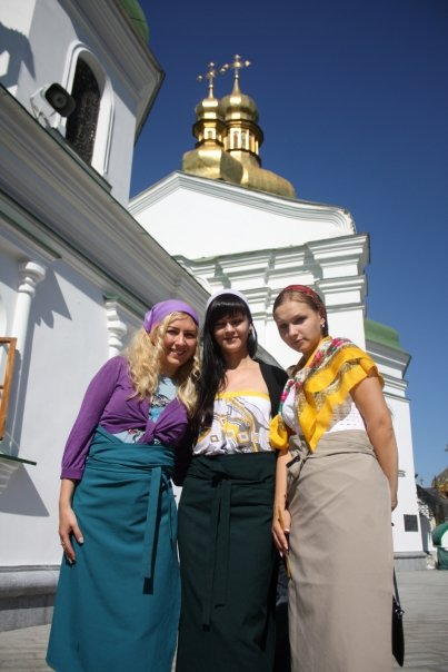 About to enter the Kiev-Pechersk Lavra Caves Monastery to see the mummified munks - wearing a headscarf and a long skirt rented from the church