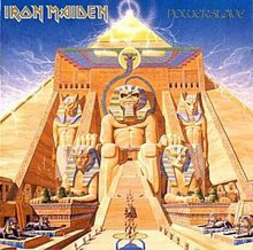 "The album cover from ""Powerslave""."